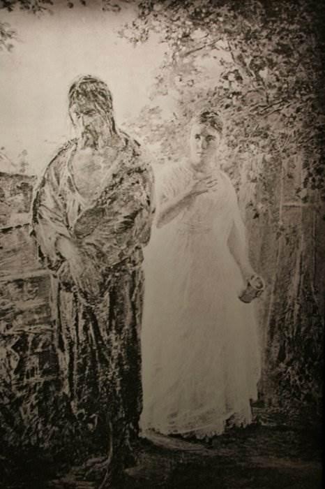 """Рентгеновский снимок картины """"Милосердие"""", поверх которой Ге написал разговор Пилата и Христа"""