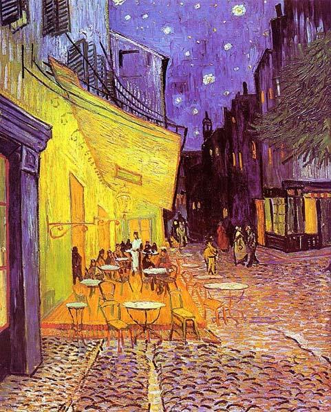 """Еще один ночной пейзаж Ван Гога - """"Ночная терраса кафе""""."""