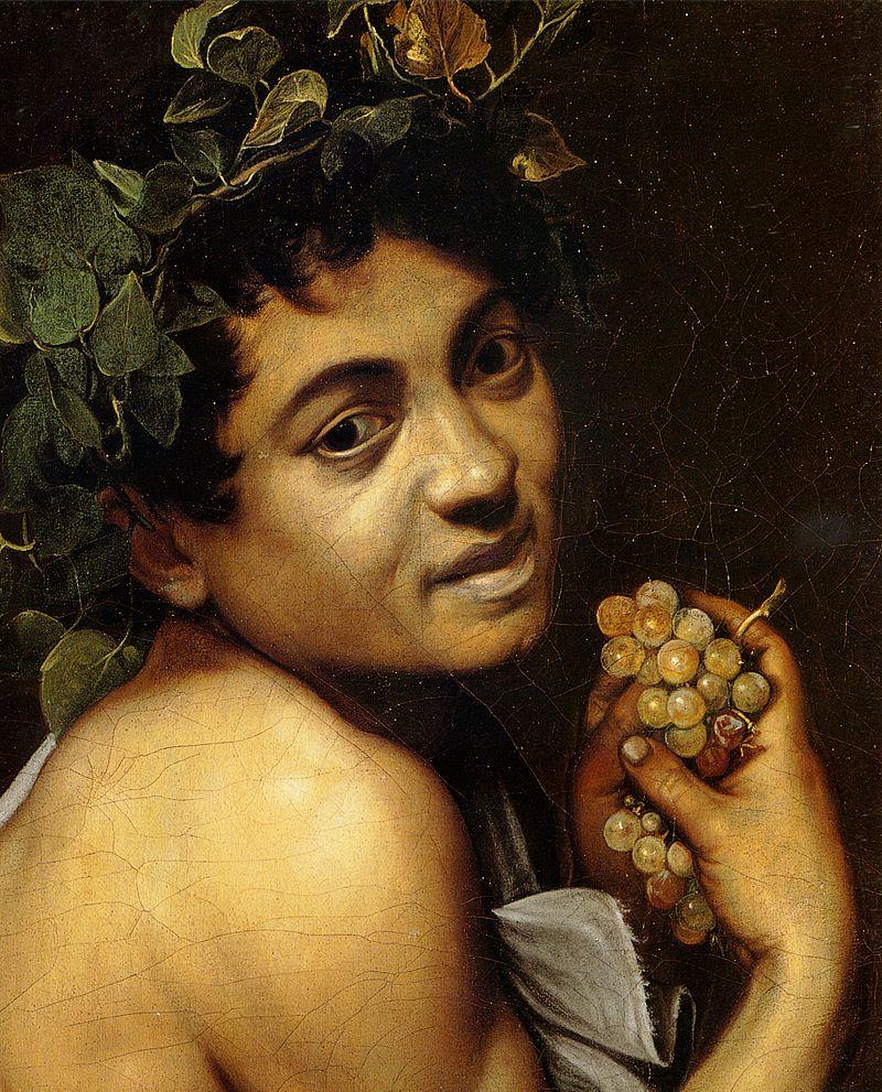"""Художник иногда изображал себя в своих сюжетных картинах. Один из первых автопортретов в произведении """"Больной Вакх"""", 1593 (фрагмент)"""