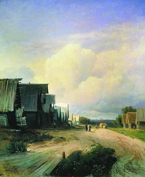 """Фёдор Васильев """"Деревенская улица"""", 1868"""