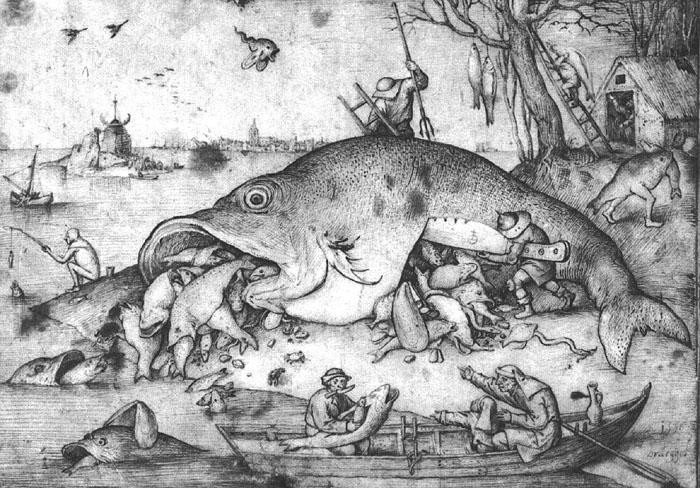 """Питер Брейгель Старший """"Большие рыбы пожирают малых"""", 1556"""