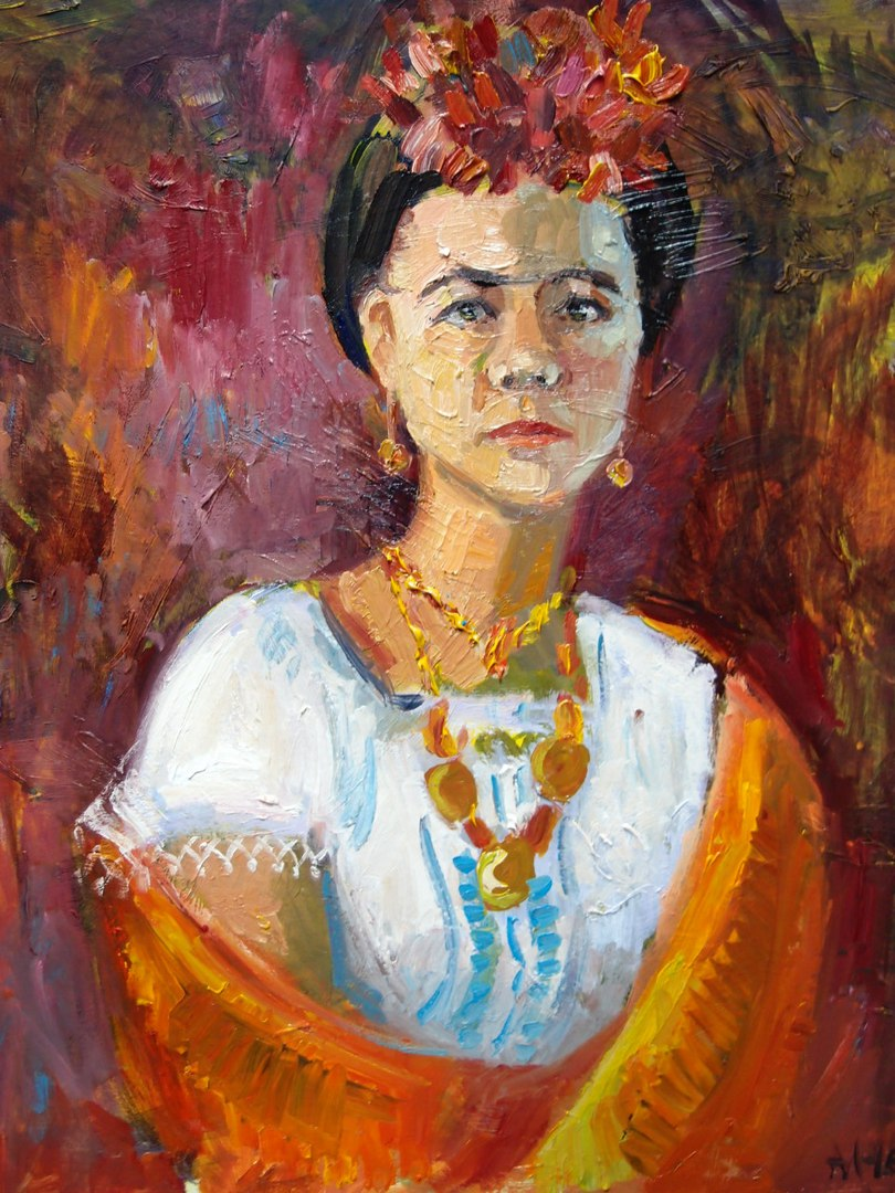 Для одной из постановок натурщицу нарядили в стиле Фриды Кало