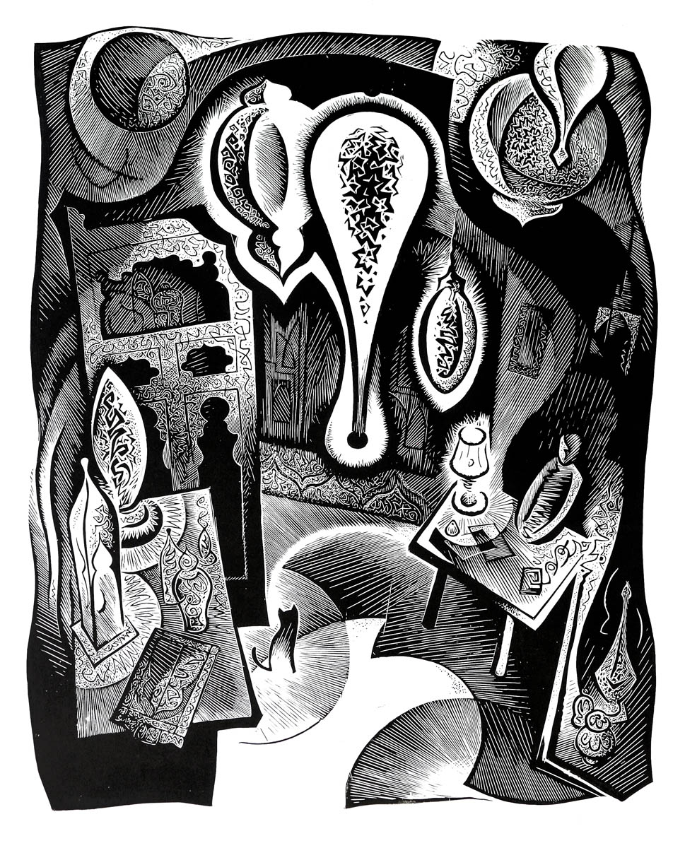"""Денис Булавинцев """"Интерьер с фонарями"""", 2014 (фото с сайта хцдожники-воронежа.рф)"""