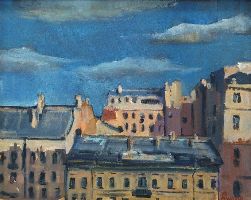 """Работа Виктора Циряниди """"Вид на питерские крыши из зала Альбера Марке"""""""