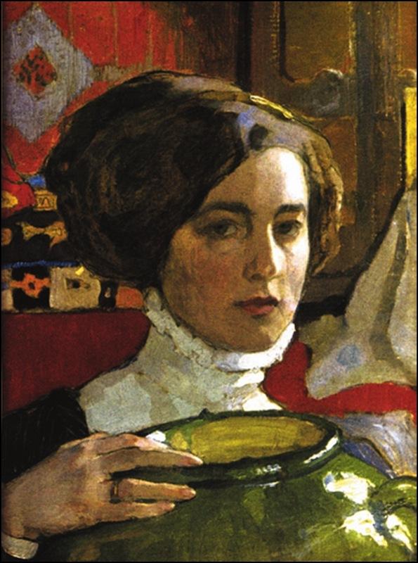 """Елена Киселева """"Автопортрет с зеленой вазой"""", 1910"""