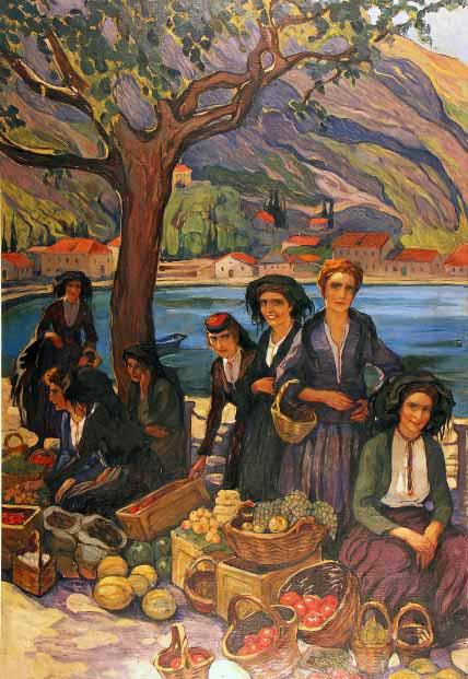 """Елена Киселева""""Базар в Которе"""", 1925"""