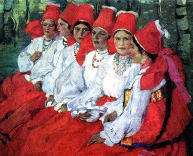 """Елена Киселева """"Невесты. Троицын день"""", 1907"""