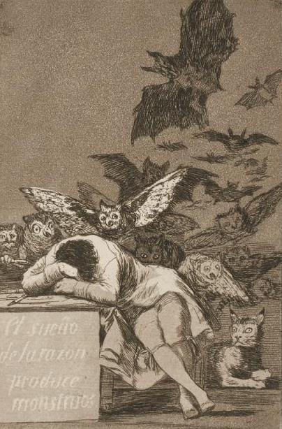 """Франсиско Гойя """"Сон разума рождает чудовищ"""", 1799"""