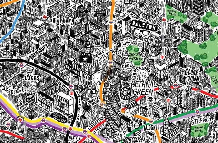 Фрагмент карты Лондона иллюстратора Дженни Спаркс