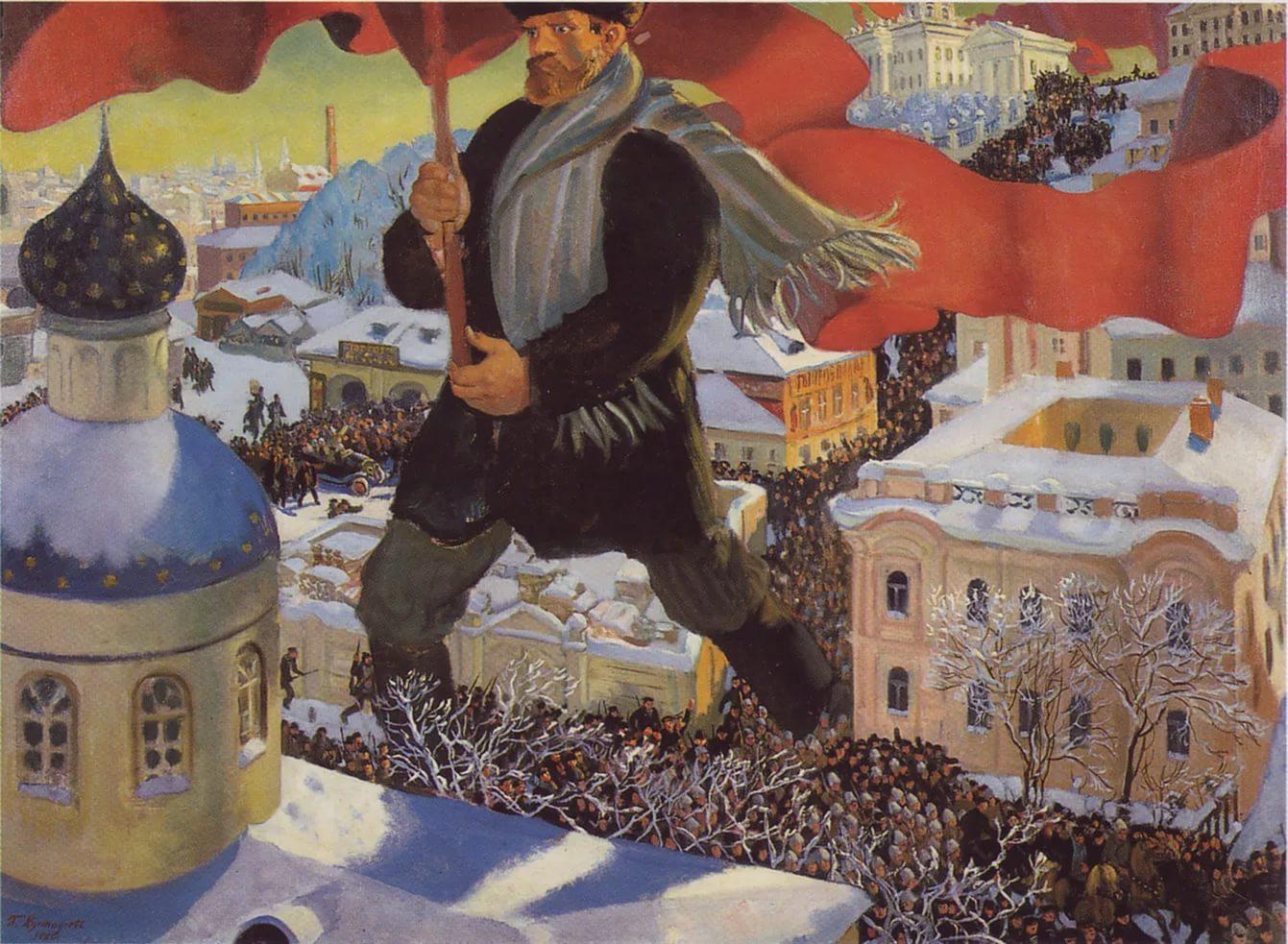 """Картина """"Большевик"""" художника Бориса Кустодиева"""