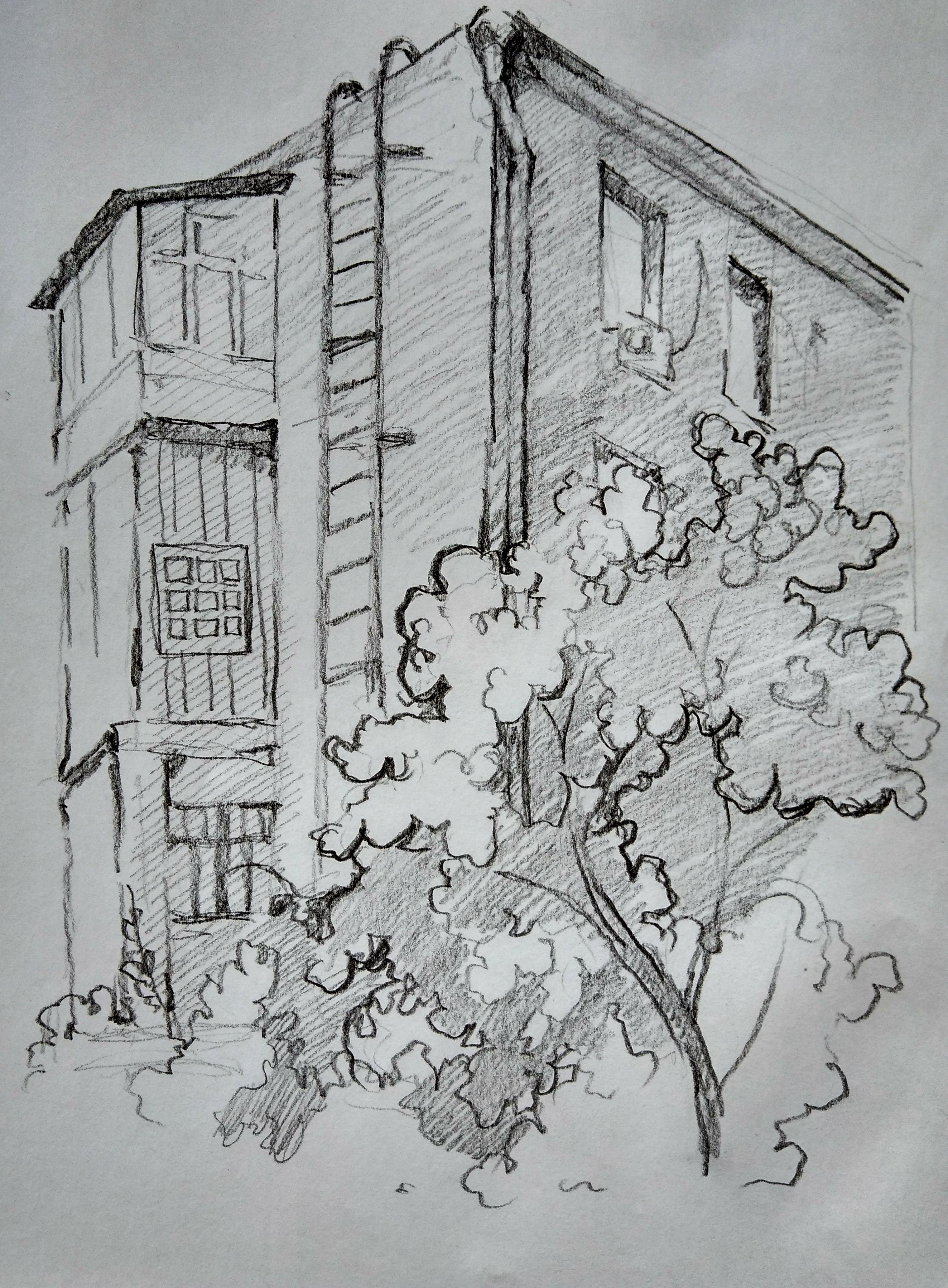 Во дворике дома на Никитинской, 3, рисунок Анны Русан