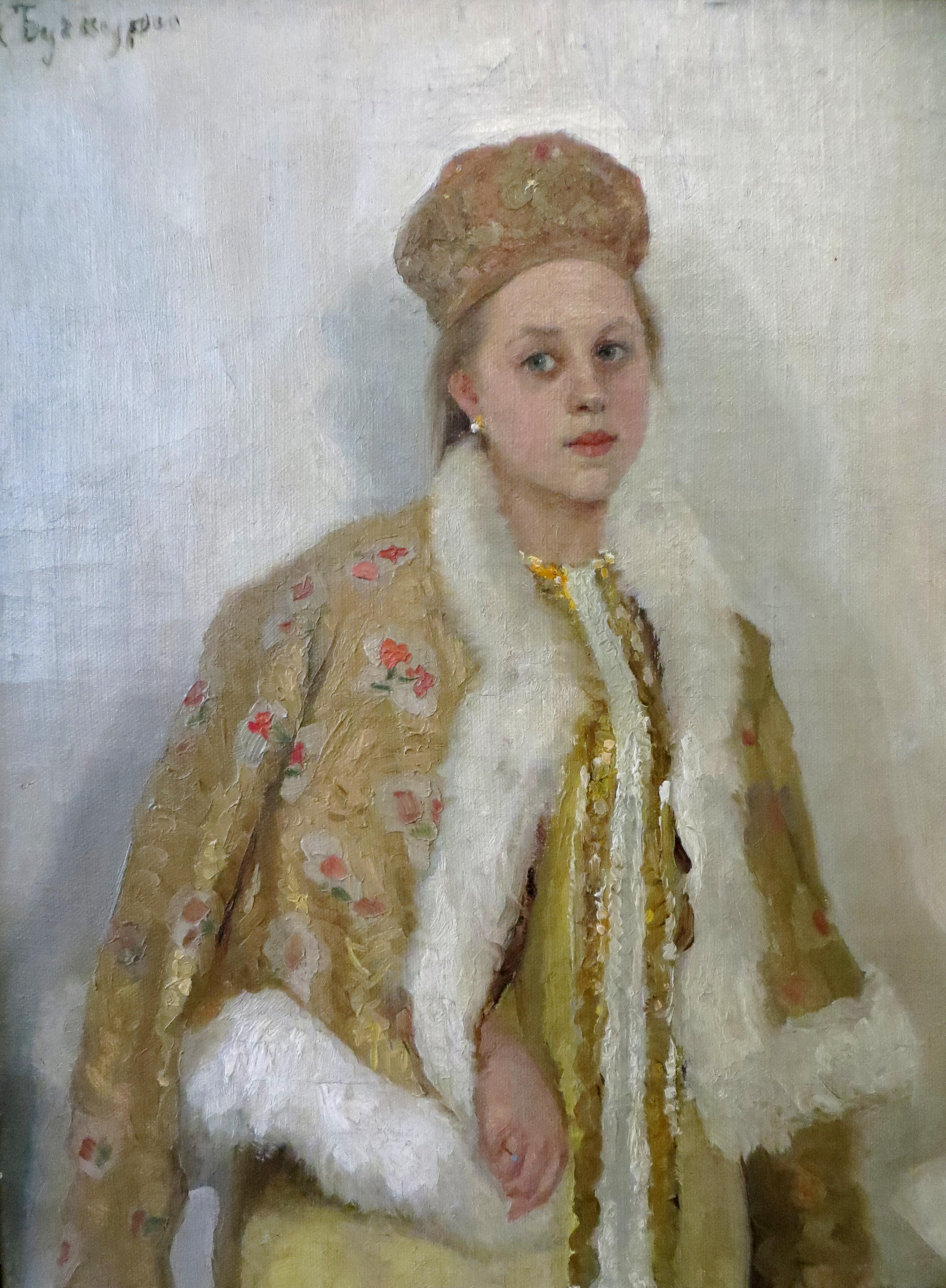 """Александр Бучкури """"Девушка в парчовом наряде"""", 1904 (портрет жены художника Вассы Епифановой)"""