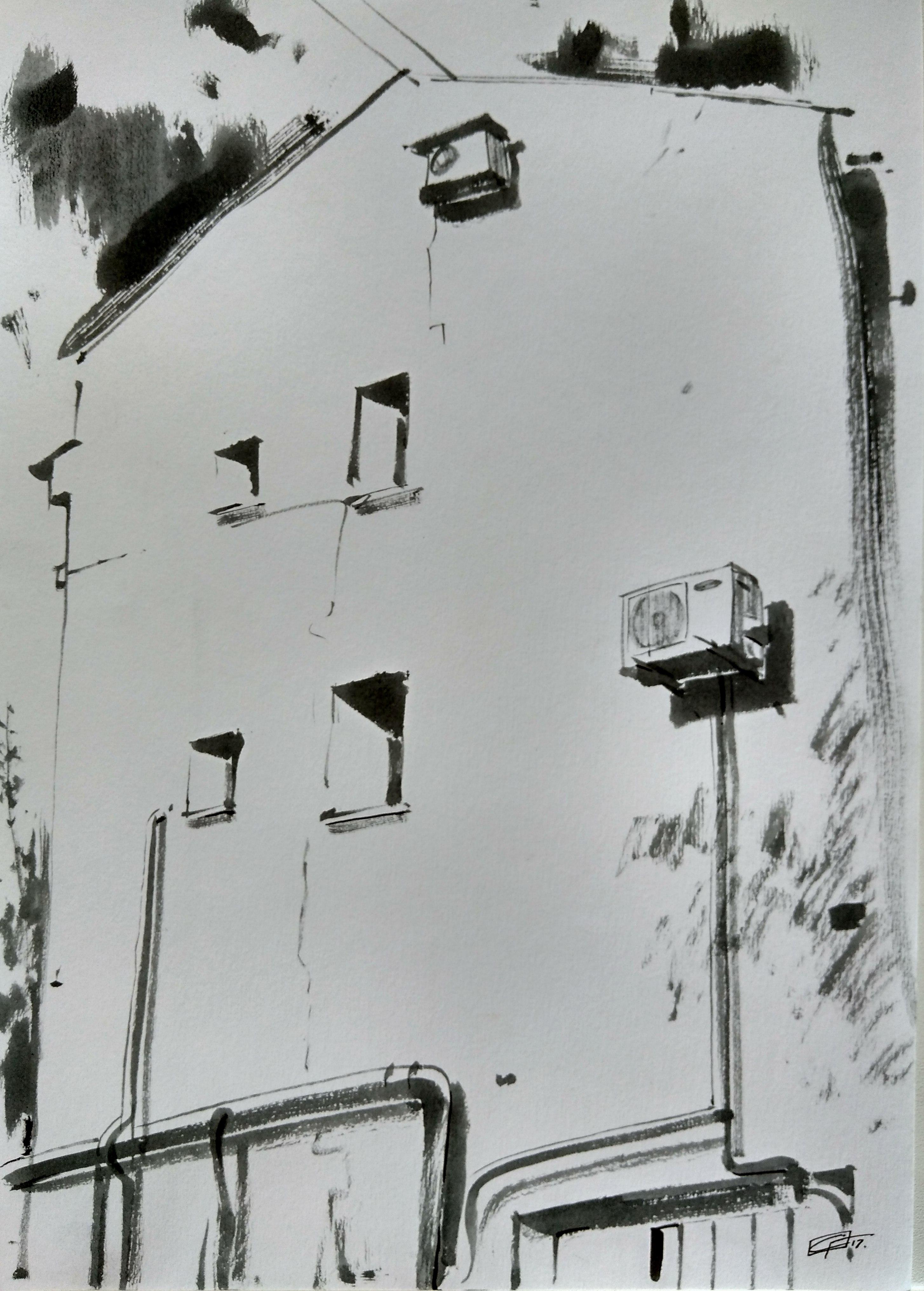 Такой необычный ракурс дома с совой нашел художник Станислав Горшков
