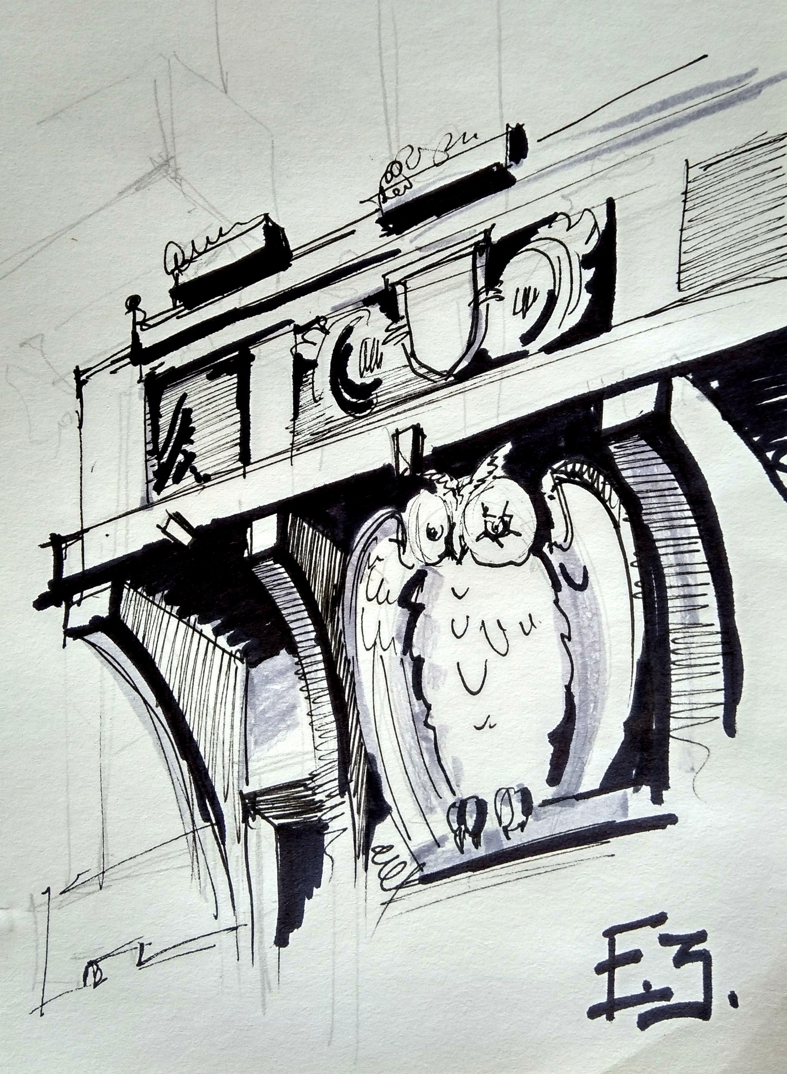 Дом с совой, рисунок Екатерины Закурко