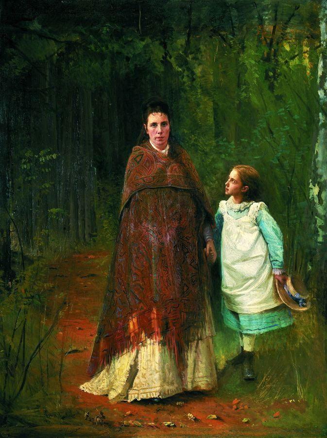 """Иван Крамской """"Портрет жены и дочери художника"""", 1875"""