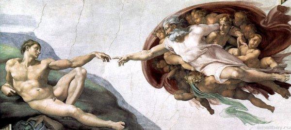 """Фреска """"Сотворение Адама"""", которую Микеланджело написал примерно в 151 году для Сикстинской капелле"""