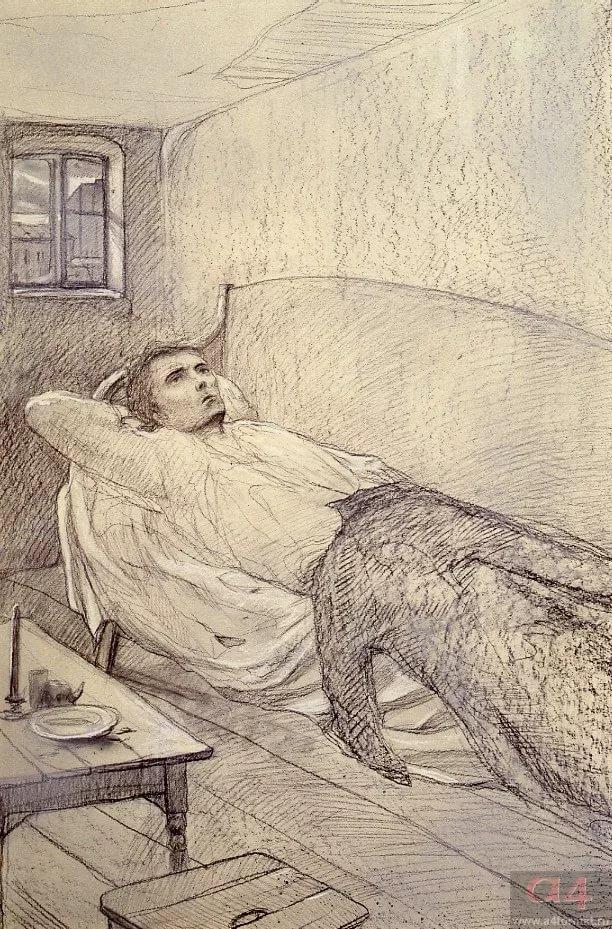 """Раскольников в своей комнате, иллюстрация к роману """"Преступление и наказание"""""""