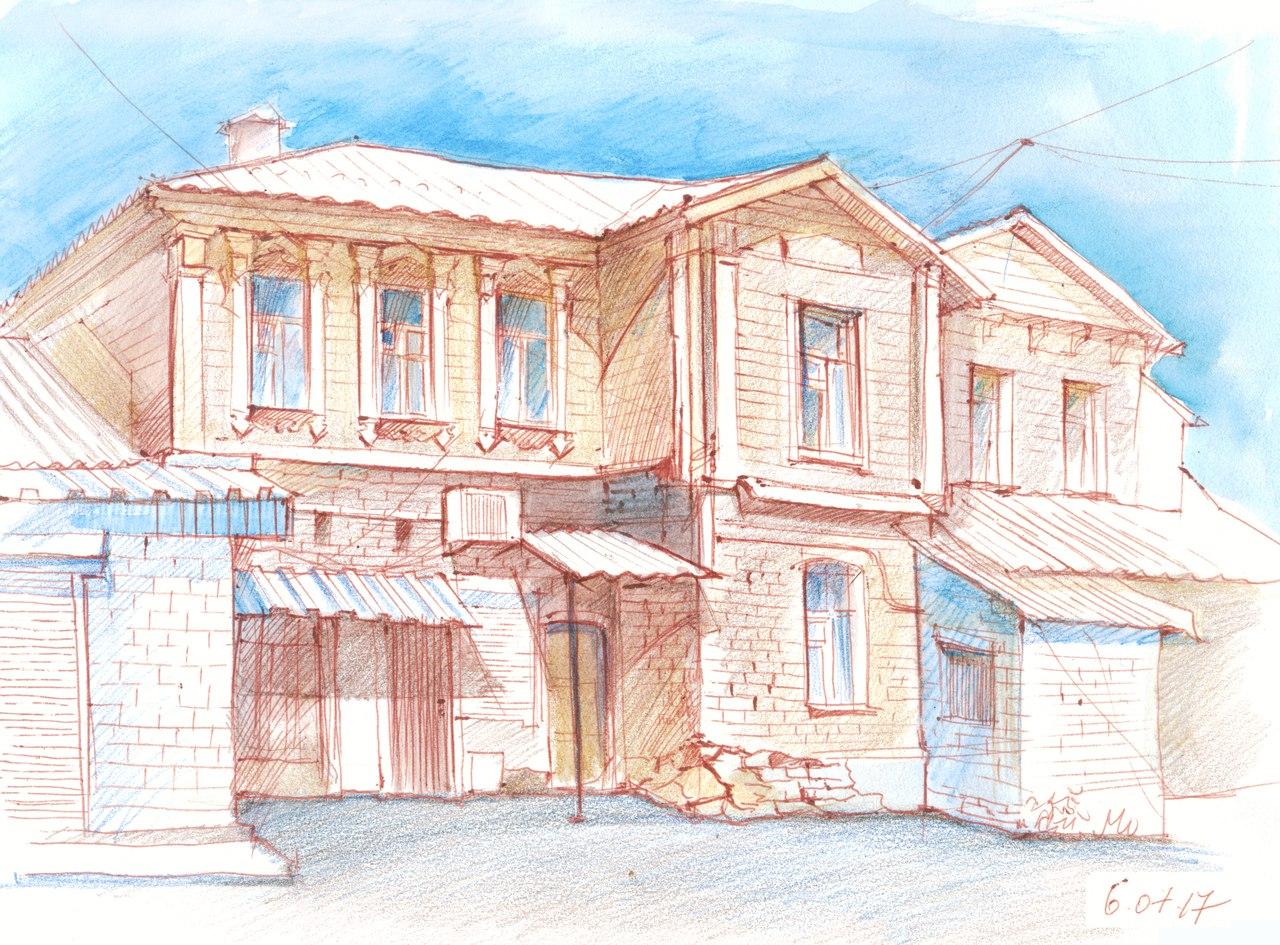 Вид со двора дома с мезонином (рисунок Нелли Фроловой)