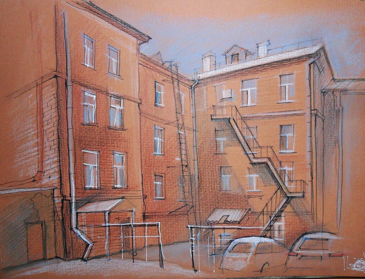 Пример с использованием тонированной бумаги. На рисунке Нелли Фроловой - двор музыкального училища на проспекте Революции