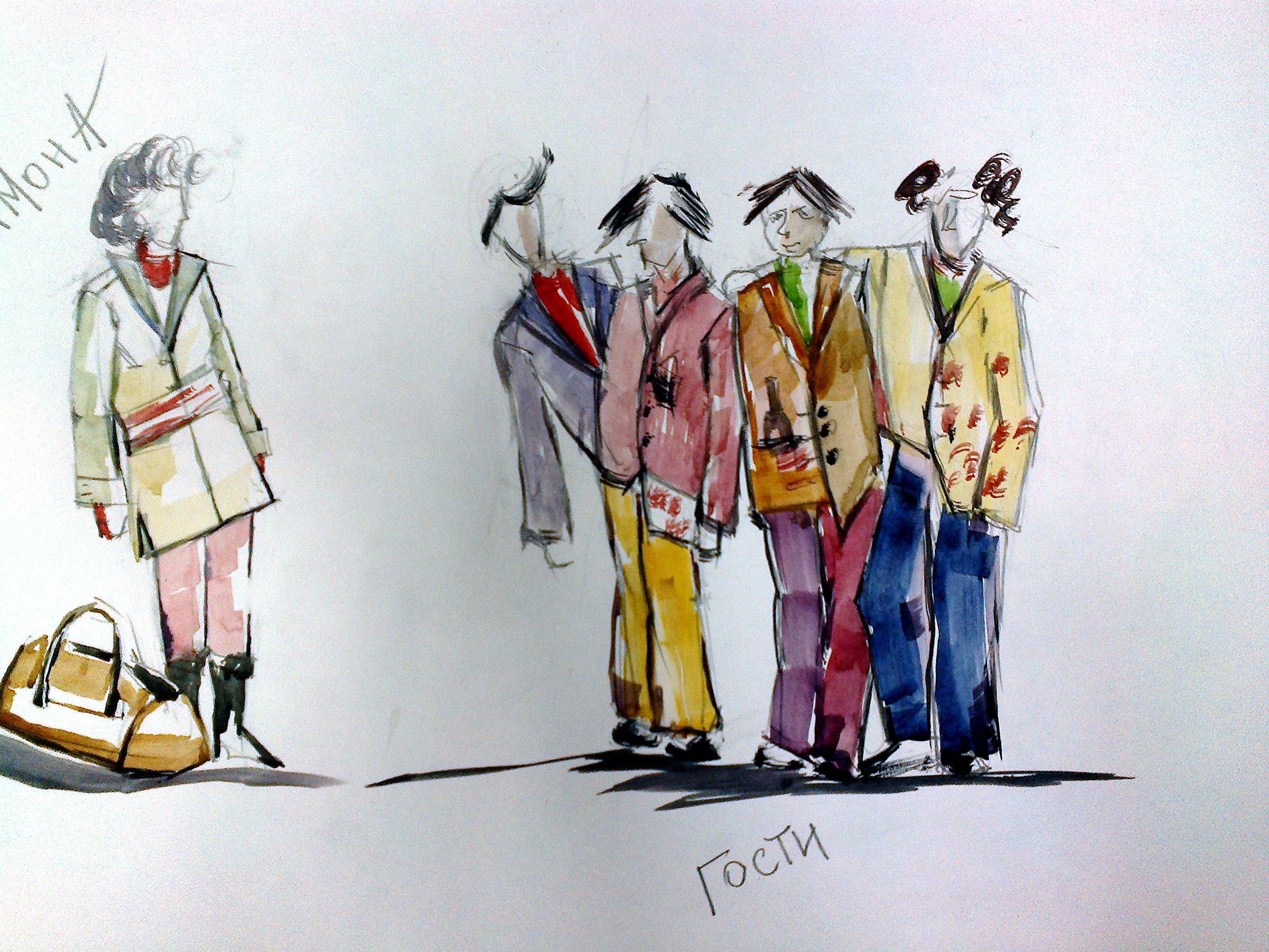 """Эскизы костюмов к спектаклю """"Скрипка, бубен и утюг"""""""