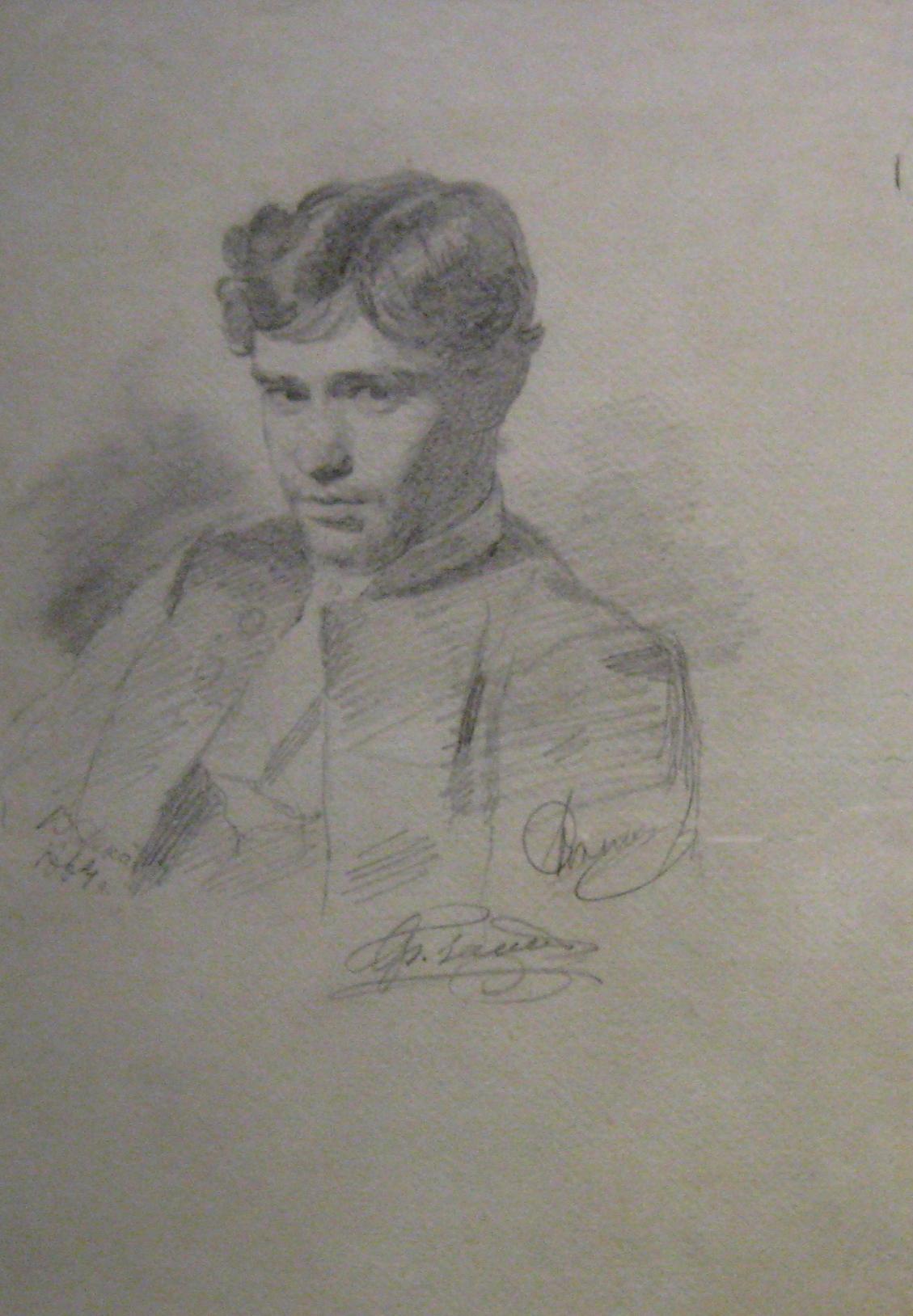 """Илья Репин """"Портрет молодого человека"""", 1864"""