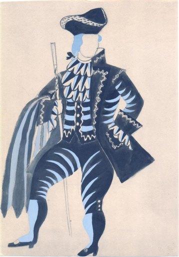 "Пабло Пикассо. Эскиза костюма мельника к балету ""Треуголка"" (пошуар)"