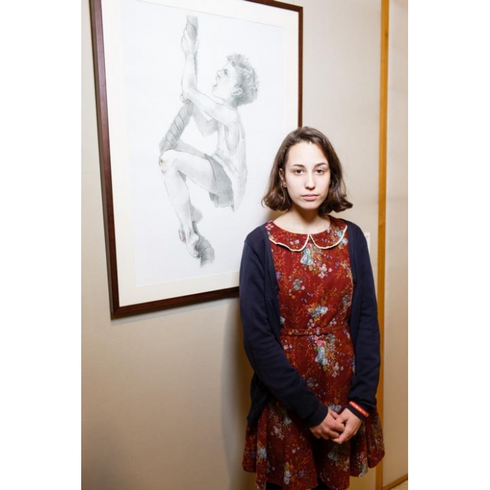 Арина Четина на открытии выставки в Санкт-Петербурге