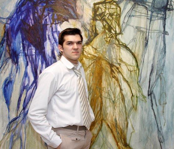 Иван Горшков на открытии персональной выставке в Х.Л.А.М.е в 2009 году