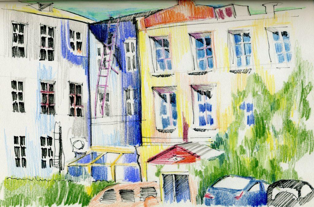 """Рисунок Екатерины Докучаевой, внутренний дворик """"Коммуны"""""""