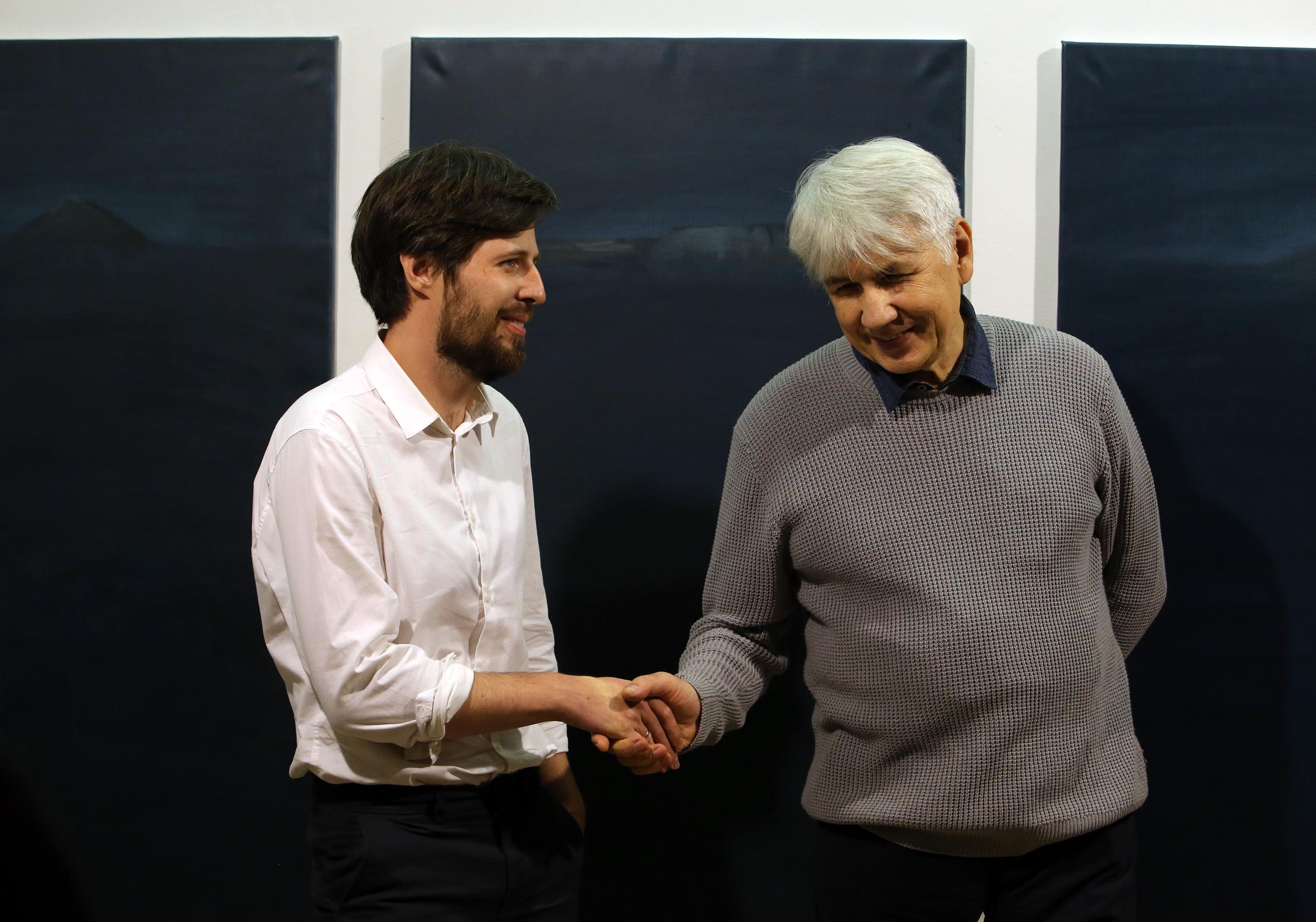 Николай Алексеев и директор галереи Х.Л.А.М. Алексей Горбунов