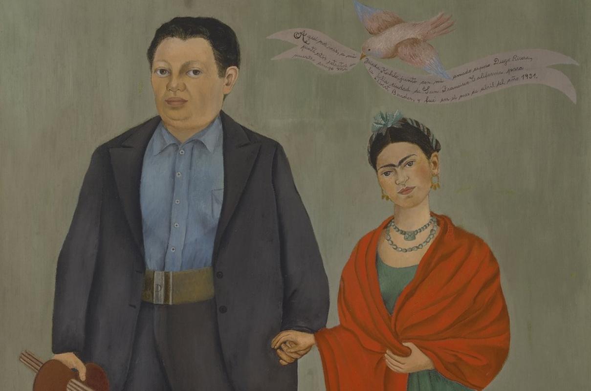 Так Фрида изобразила свою свадьбу с Диего (фрагмент)